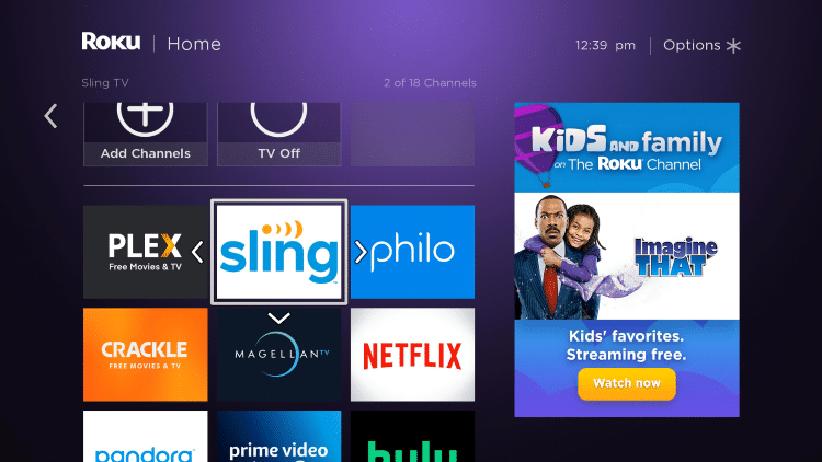 Move the Sling TV app wherever you prefer on your Roku channels list