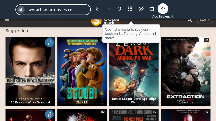 "If you want to bookmark the SolarMovie website, click the star icon that says ""Add Bookmark."""