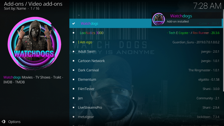 "Wait for the ""WatchDogs Add-on installed"" message to appear"