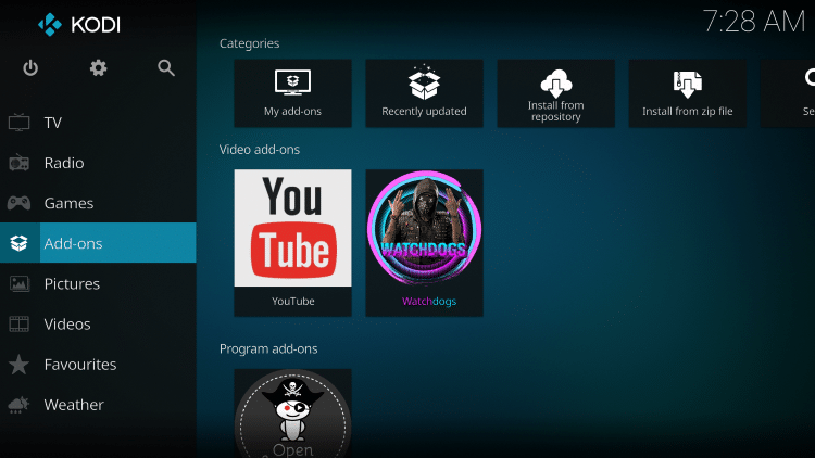 Once the WatchDogs add-on has been installed go back to the Home screen of Kodi. Click Add-ons