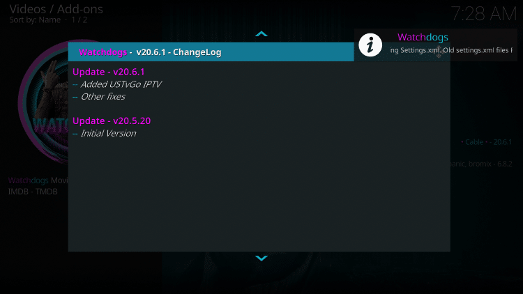 If the ChangeLog appears just click the back button on your remote.