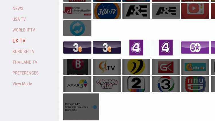 aos tv apk categories