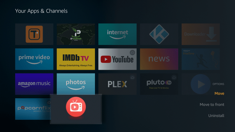 Hover over AOS TV and click the Options button on your remote (3 horizontal lines). Then choose Move.