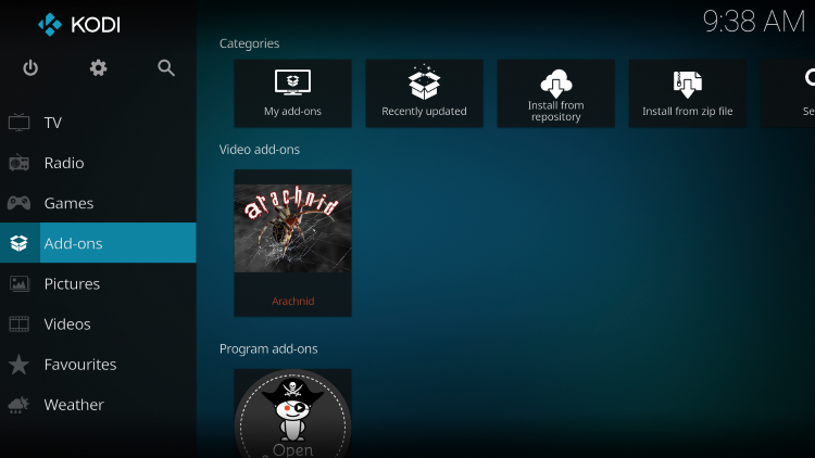 Once the Arachnid add-on has been installed go back to the Home screen of Kodi. Click Add-ons