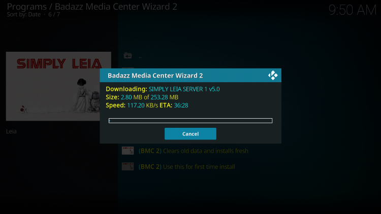 Wait for the BMC Kodi Build to install