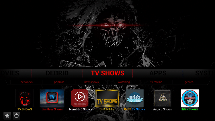 dark kodi build tv shows