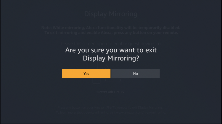 disconnect firestick mirror