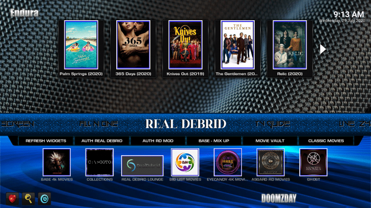 Hover over the Real Debrid category within the menu.