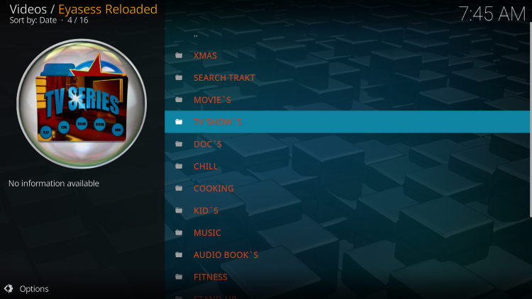 eyasess reloaded kodi addon categories