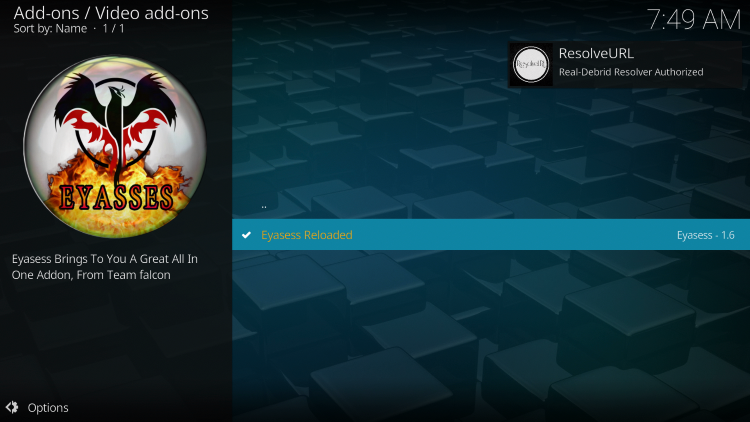 Return to Kodi and you will encounter Real-Debrid Authentication message once completed