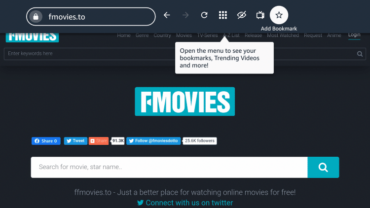 "If you want to bookmark the FMovies site, click the star icon that says ""Add Bookmark."""