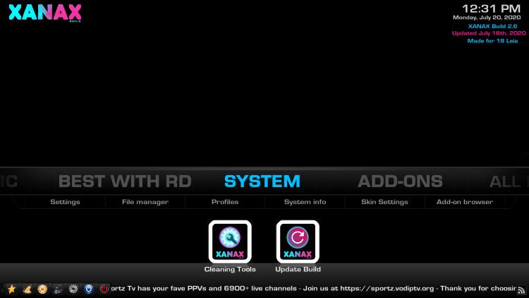 Hover over System menu item.