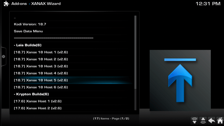 Choose a host to download the Xanax Kodi Build from.