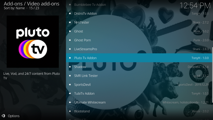Choose Pluto TV Addon