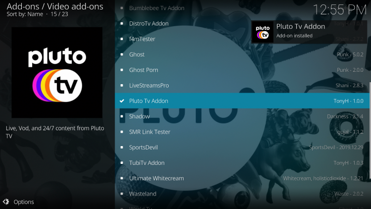 Wait for Pluto TV Addon installed message to appear