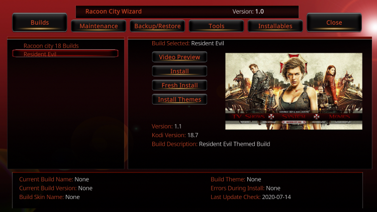 Scroll down and choose Resident Evil