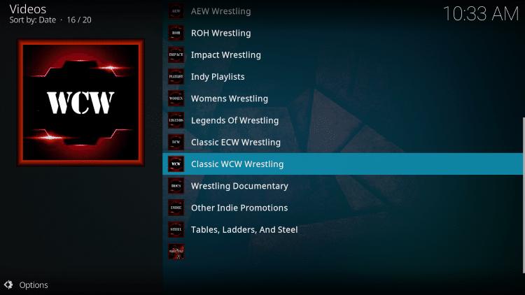 wrestlers kodi addon categories