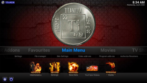 titanium kodi build main menu