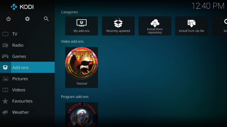 Once the Twisted add-on has been installed go back to the Home screen of Kodi. Click Add-ons
