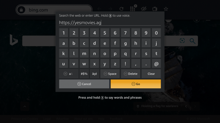 Click the Search icon and enter the following URL - https://yesmovies.ag and click Go.