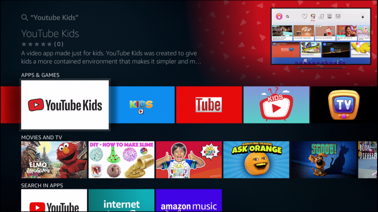 select youtube kids app