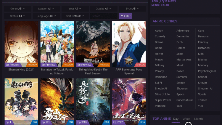 9anime website genres