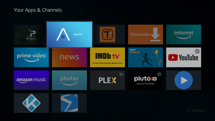 Move Airy TV wherever you prefer on Your Apps & Channels list.