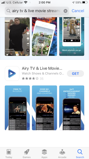 Locate the Airy TV app and select GET