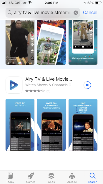 Wait a few seconds for the Airy TV app to install