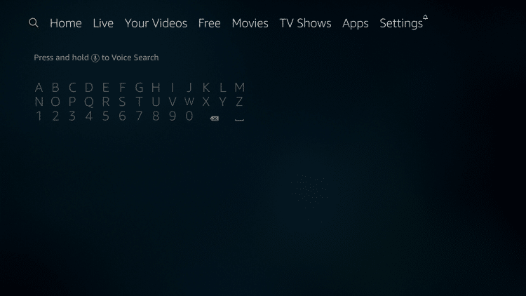 From the Firestick main menu, scroll to the left to hover over the search icon.