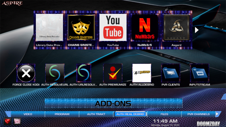 Click the down button on your remote then scroll over and select Auth Real Debrid.