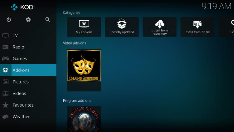 Return back to the home screen of Kodi and select Add-ons