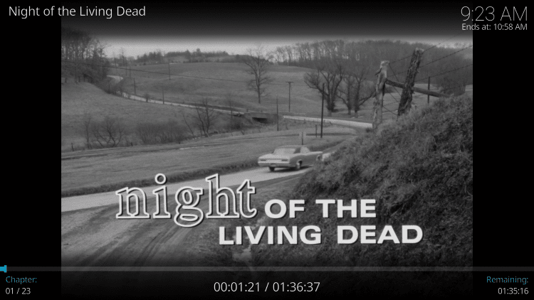 For this example, we watched Night of the Living Dead which is one of our Best Public Domain Movies.