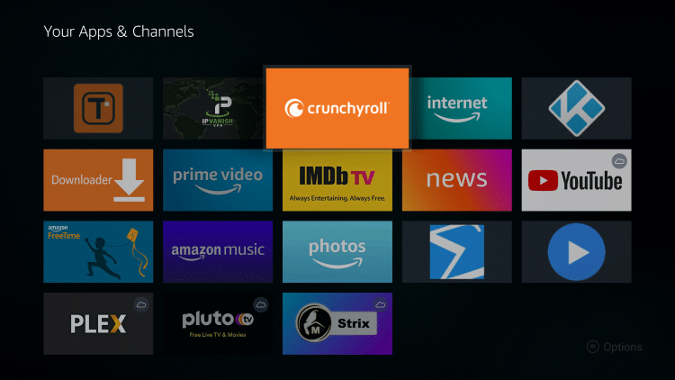 Place the Crunchyroll app within your Apps & Channels wherever you prefer