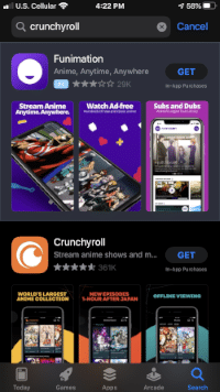 Locate the Crunchyroll app and select GET