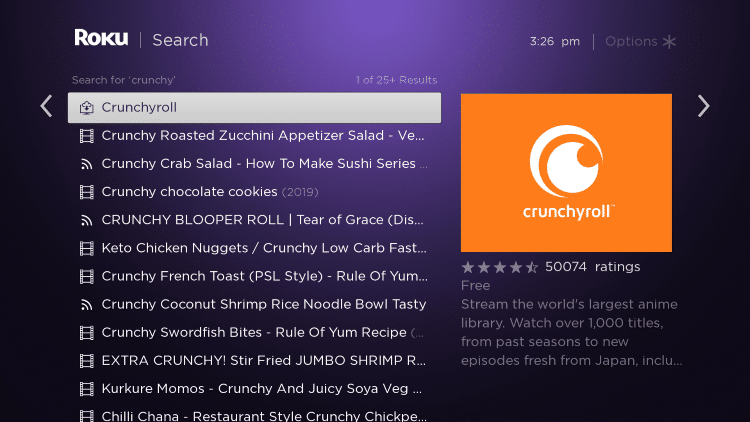 Click the first Crunchyroll option that appears
