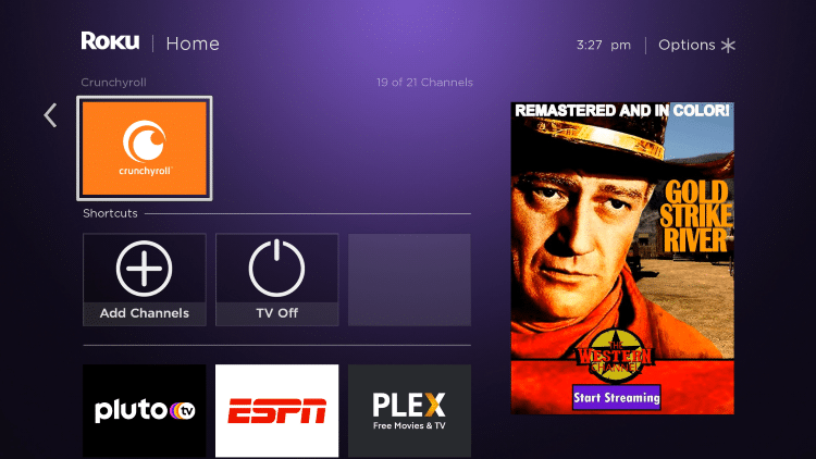 Return back to your Roku home screen and locate Crunchyroll within your channel list