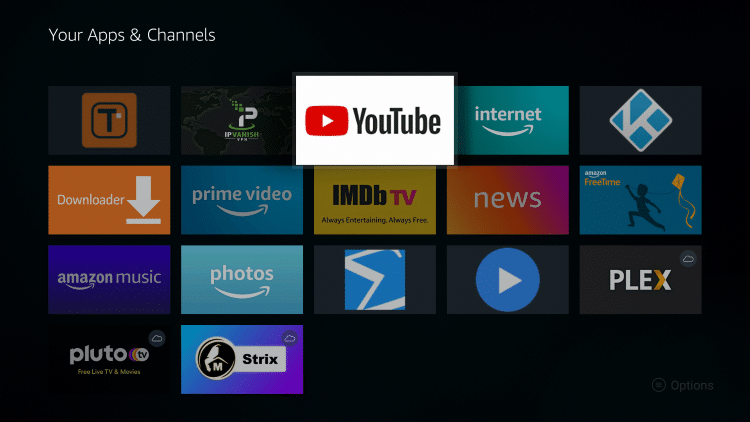 Place the YouTube app within your Apps & Channels wherever you prefer