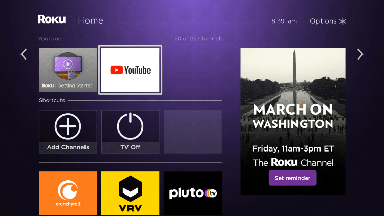 Return back to your Roku home screen and locate YouTube within your channel list.