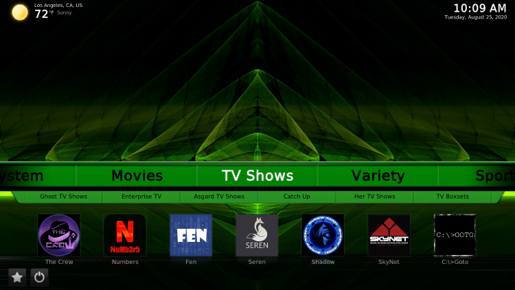 green monster kodi build tv shows