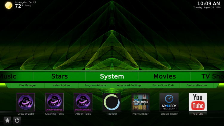 Hover over the System category within the menu.