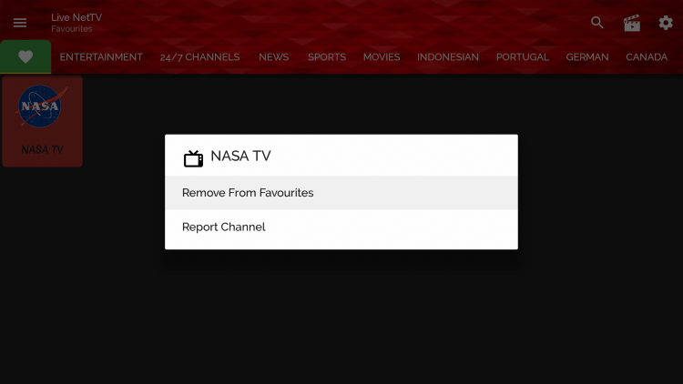 To remove channels from your Favorites, hold down the OK button over your selected channel, and choose Remove from Favorites.