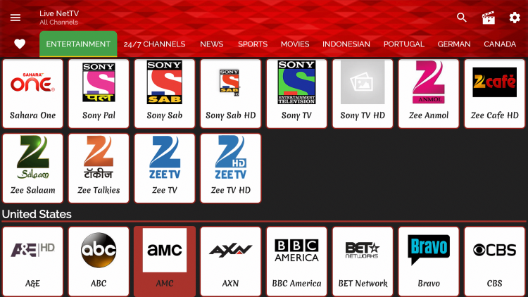 Although there is not a category for US Channels, you can select a category such as Entertainment or News and scroll down until you find United States.