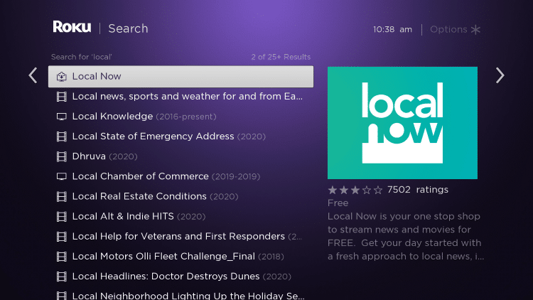 Click the Local Now option that appears