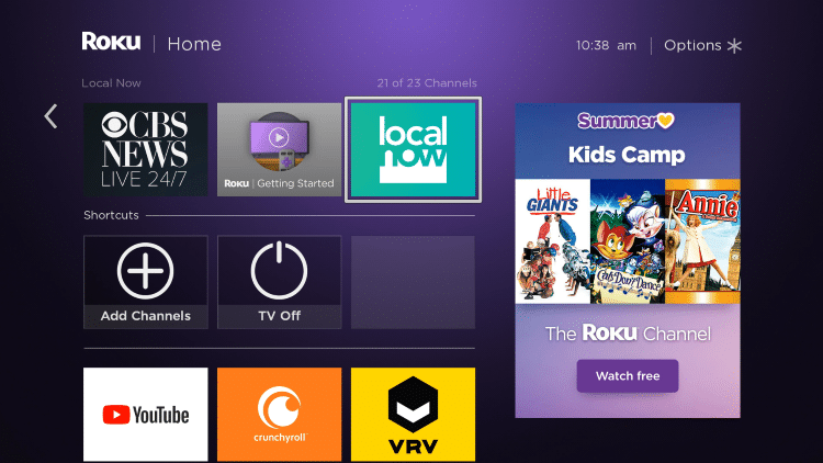 Return back to your Roku home screen and locate Local Now within your channel list