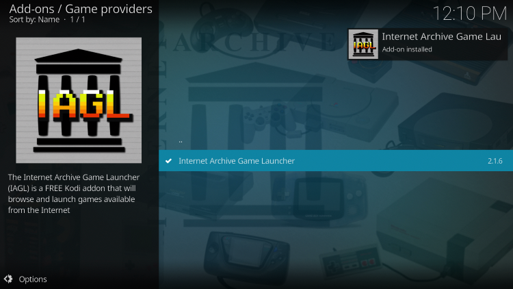 Wait for the Internet Archive Game Launcher Add-on installed message to appear