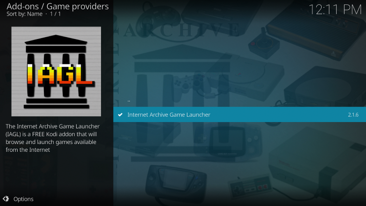 Click the Internet Archive Game Launcher addon