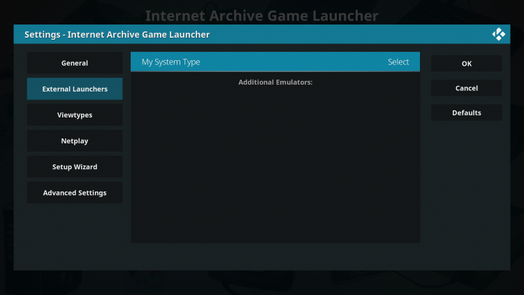 Hover over the External Launchers option on the left menu and click My System Type