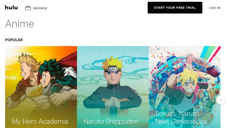 anime streaming sites hulu