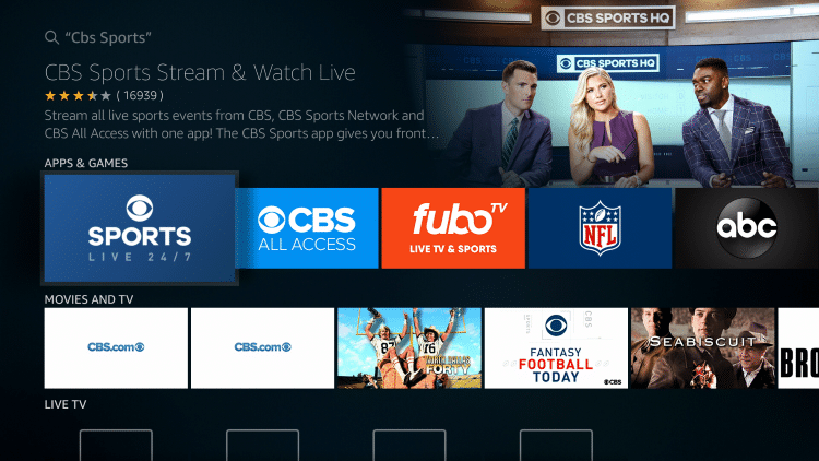 Choose CBS Sports under Apps & Games
